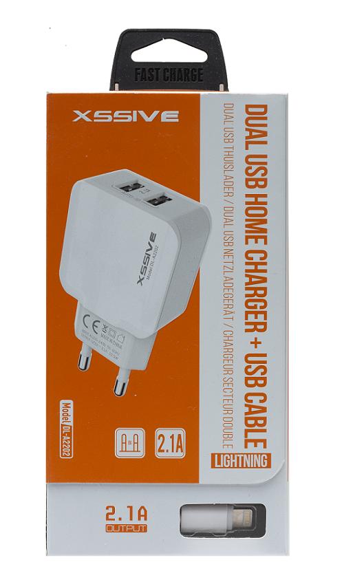 AlleHandel.eu - XSSIVE DUO USB CHARGER MET USB TYPE micro CABLE 1 METER